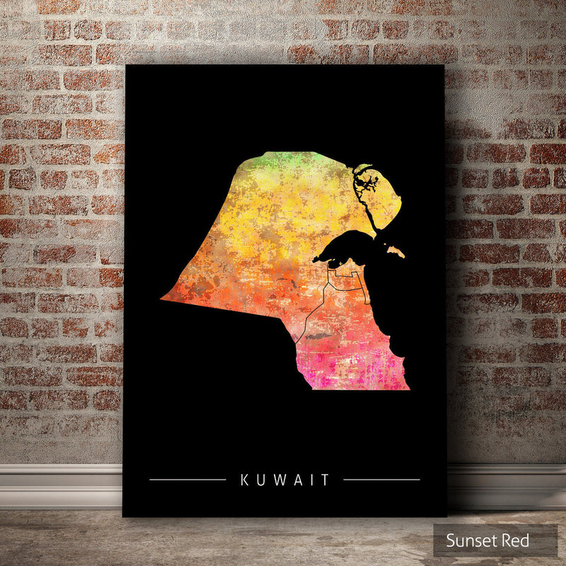 Kuwait Map: Country Map of Kuwait - Sunset Series Art Print