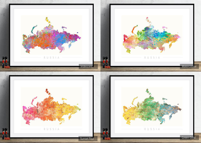 Russia Map: Country Map of Russia - Sunset Series Art Print