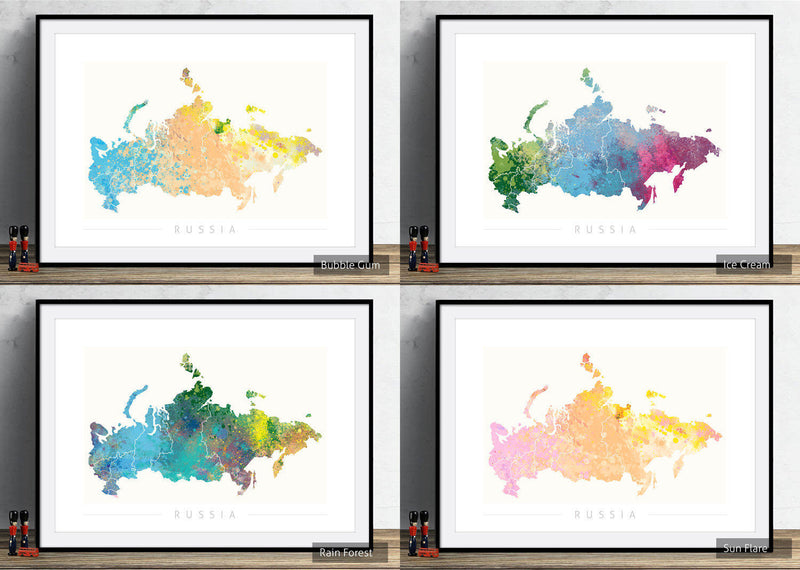 Russia Map: Country Map of Russia - Nature Series Art Print