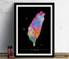 Taiwan Map: Country Map of Taiwan - Sunset Series Art Print