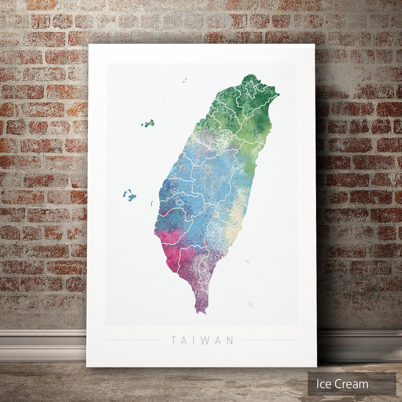 Taiwan Map: Country Map of Taiwan - Nature Series Art Print