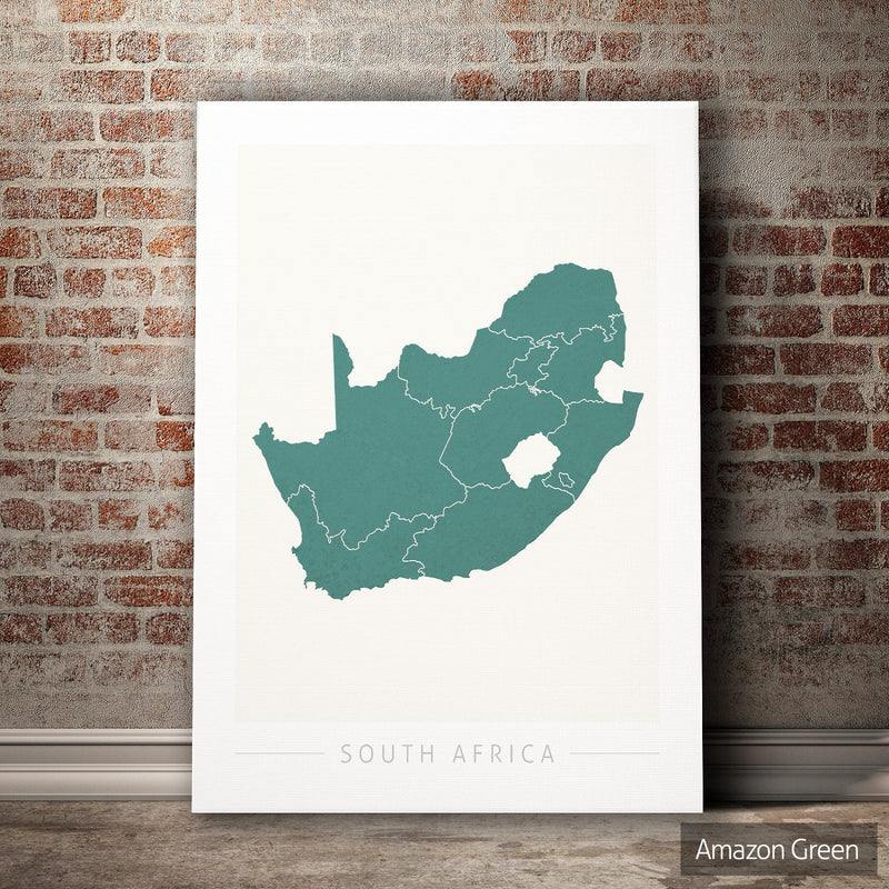 South Africa Map: Country Map of South Africa - Colour Series Art Print