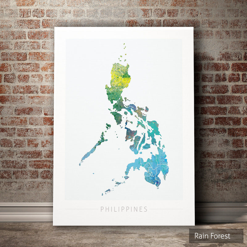 Philippines Map: Country Map of the Philippines - Nature Series Art Print