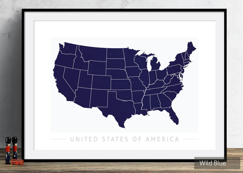 USA Map: Country Map of United States of America - Colour Series Art Print