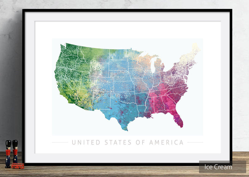 USA Map: Country Map: Nature Series Art Print