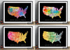 USA Map: Country Map of United States of America - Sunset Series Art Print