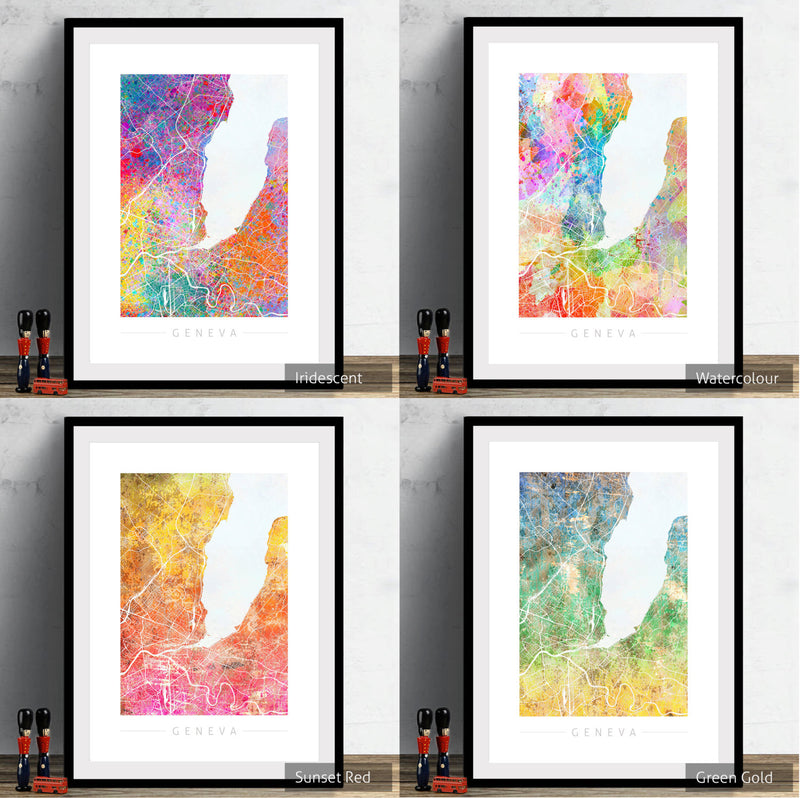 Geneva Map: City Street Map of Geneva, Switzerland - Sunset Series Art Print