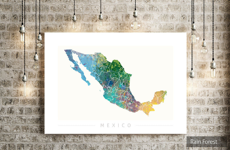 Mexico Map: Country Map of Mexico - Nature Series Art Print
