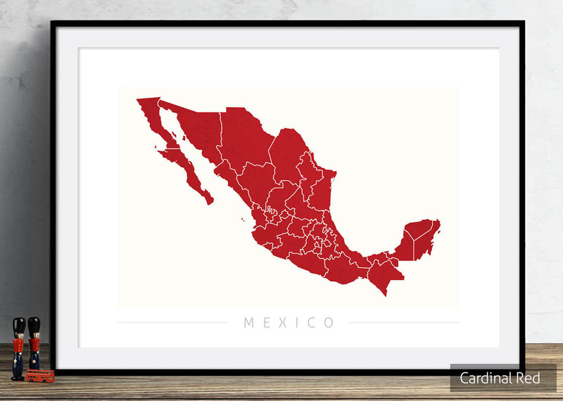 Mexico Map: Country Map of Mexico - Colour Series Art Print