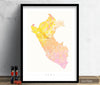 Peru Map: Country Map of Peru - Nature Series Art Print