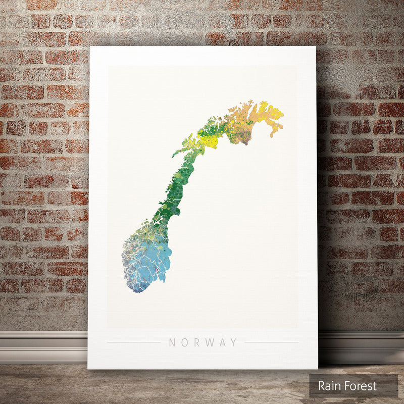 Norway Map: Country Map of Norway - Nature Series Art Print