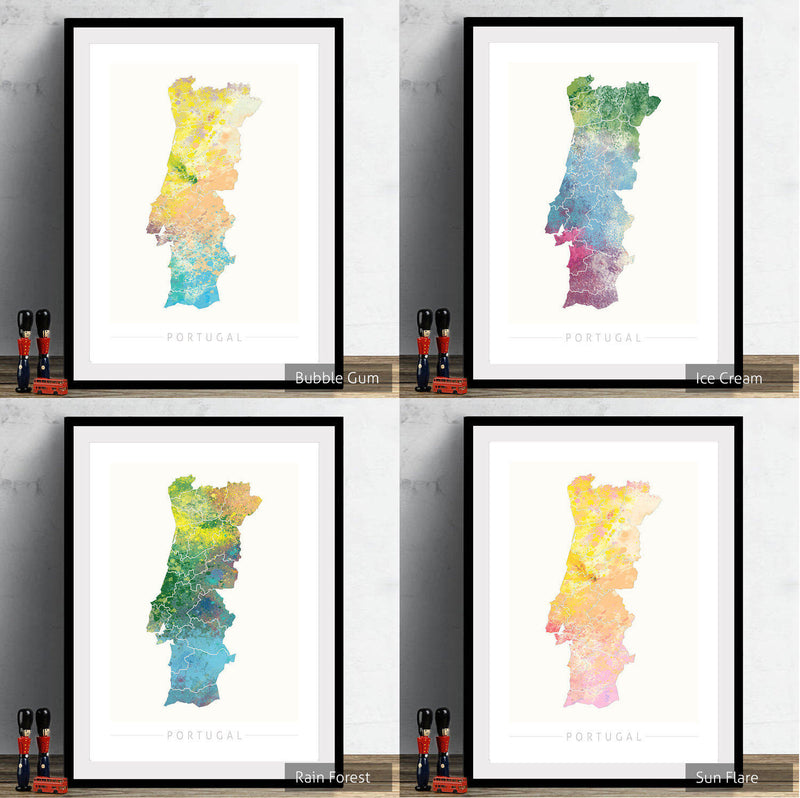 Portugal Map: Country Map of Portugal - Nature Series Art Print