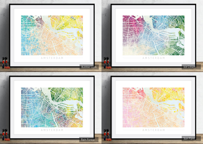 Amsterdam Map: City Street Map of Amsterdam Holland - Nature Series Art Print