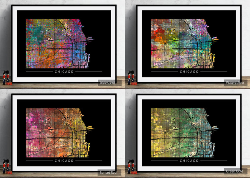 Chicago Map: City Street Map of Chicago Illinois - Sunset Series Art Print