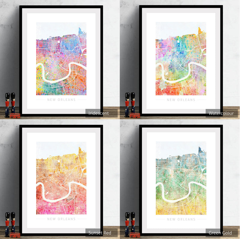 New Orleans Map: City Street Map, Louisiana - Sunset Series Art Print
