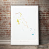 Bahamas Map: Island Map of the Bahamas - Nature Series Art Print
