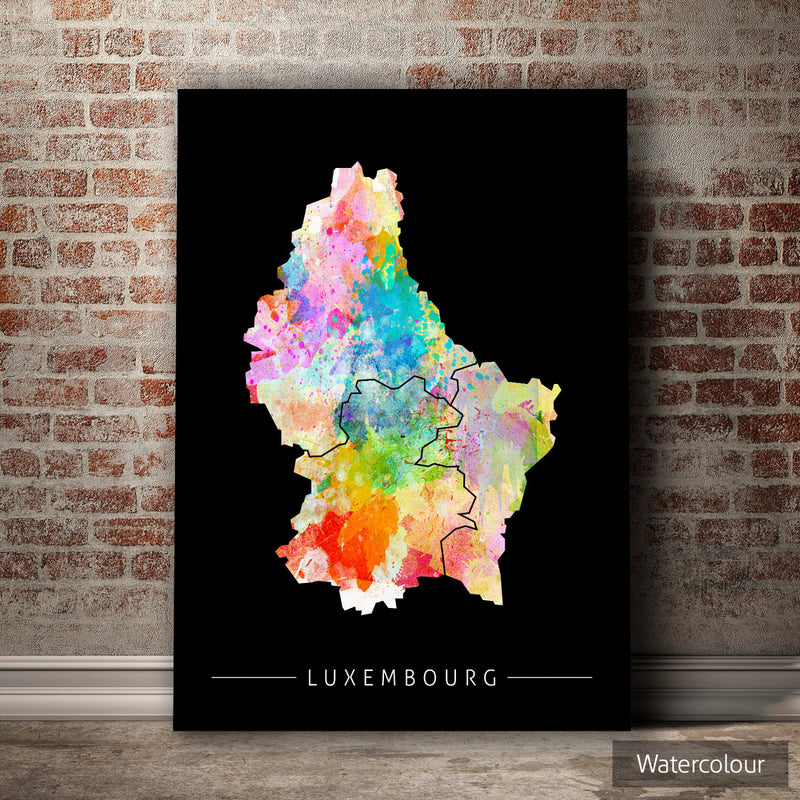 Luxembourg Map: Country Map of Luxembourg - Sunset Series Art Print