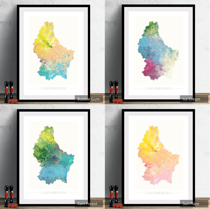 Luxembourg Map: Country Map of Luxembourg - Nature Series Art Print