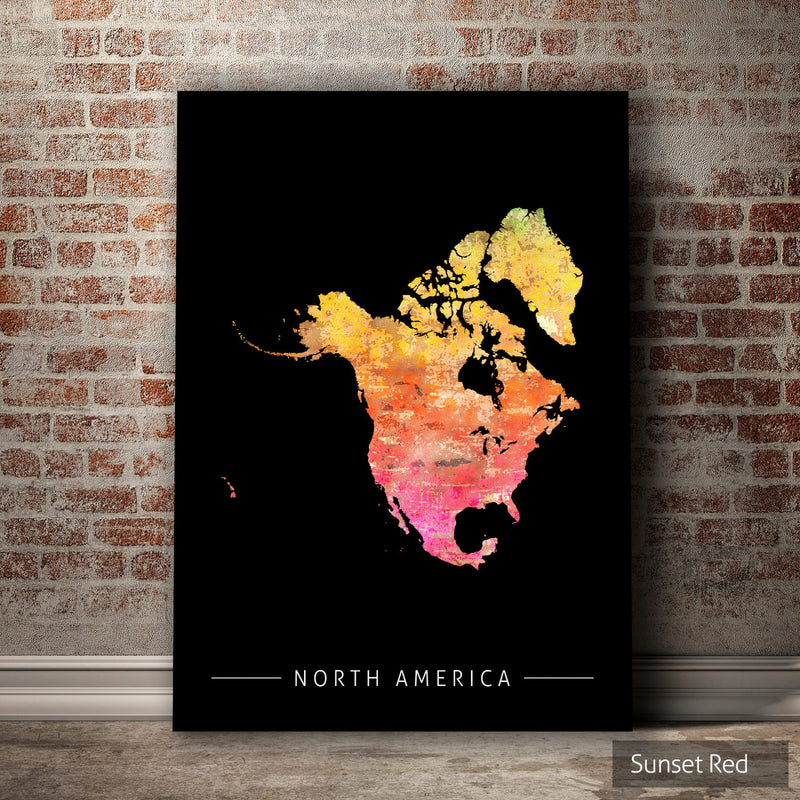 North America Map: Continental Map of North America - Sunset Series Art Print