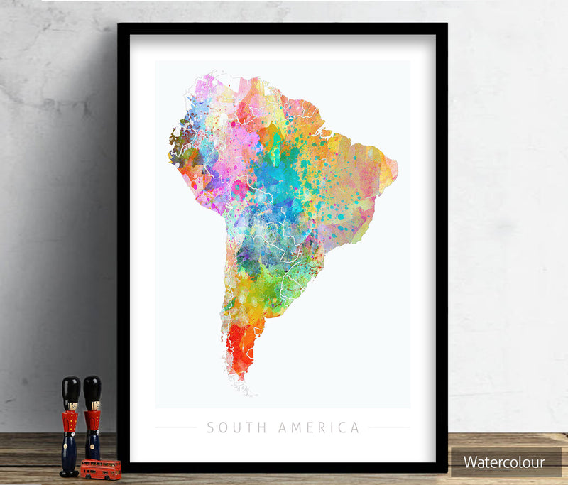South America Map: Continental Map of South America - Sunset Series Art Print
