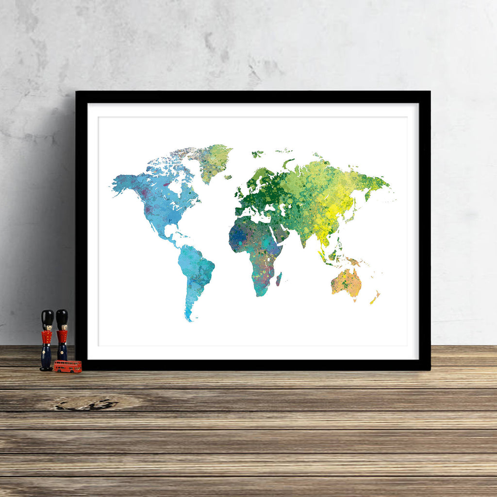 World Map: Watercolor Illustration Wall Art - Rain Forest Theme