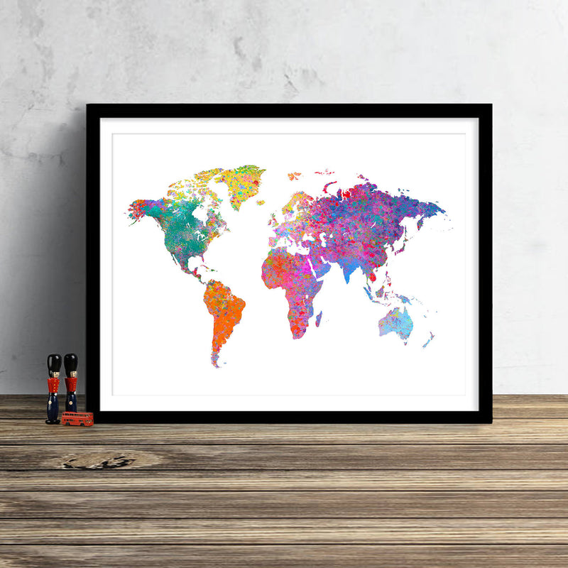 World Map: Watercolor Illustration Wall Art -  Iridescent White Theme