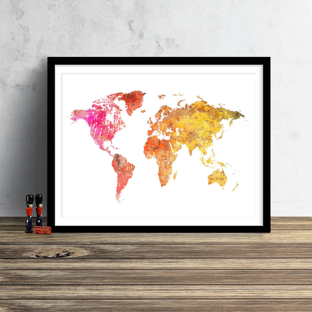 World Map: Watercolor Illustration Wall Art - Sunset Red Theme