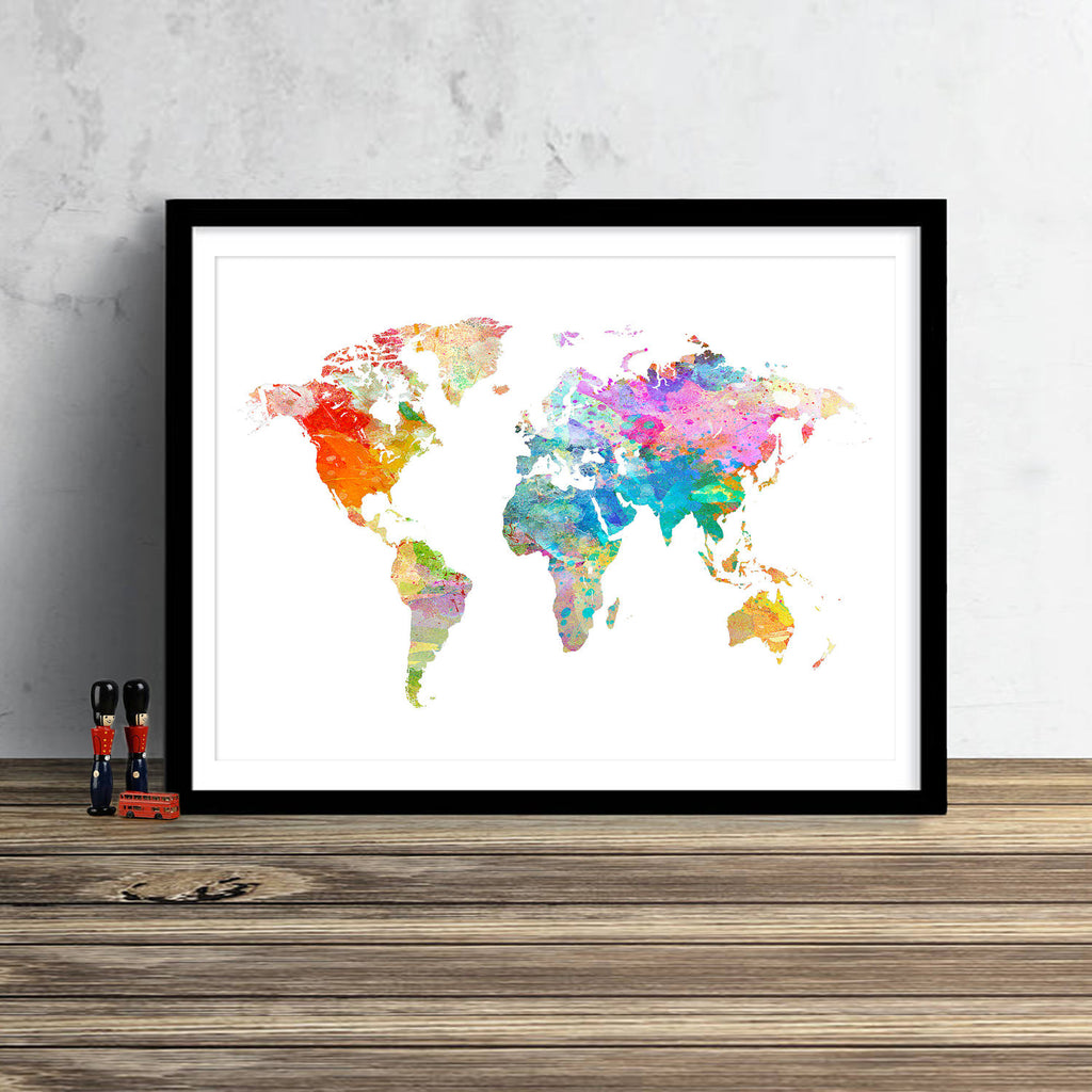 World Map: Watercolor Illustration Wall Art - Watercolour White Theme