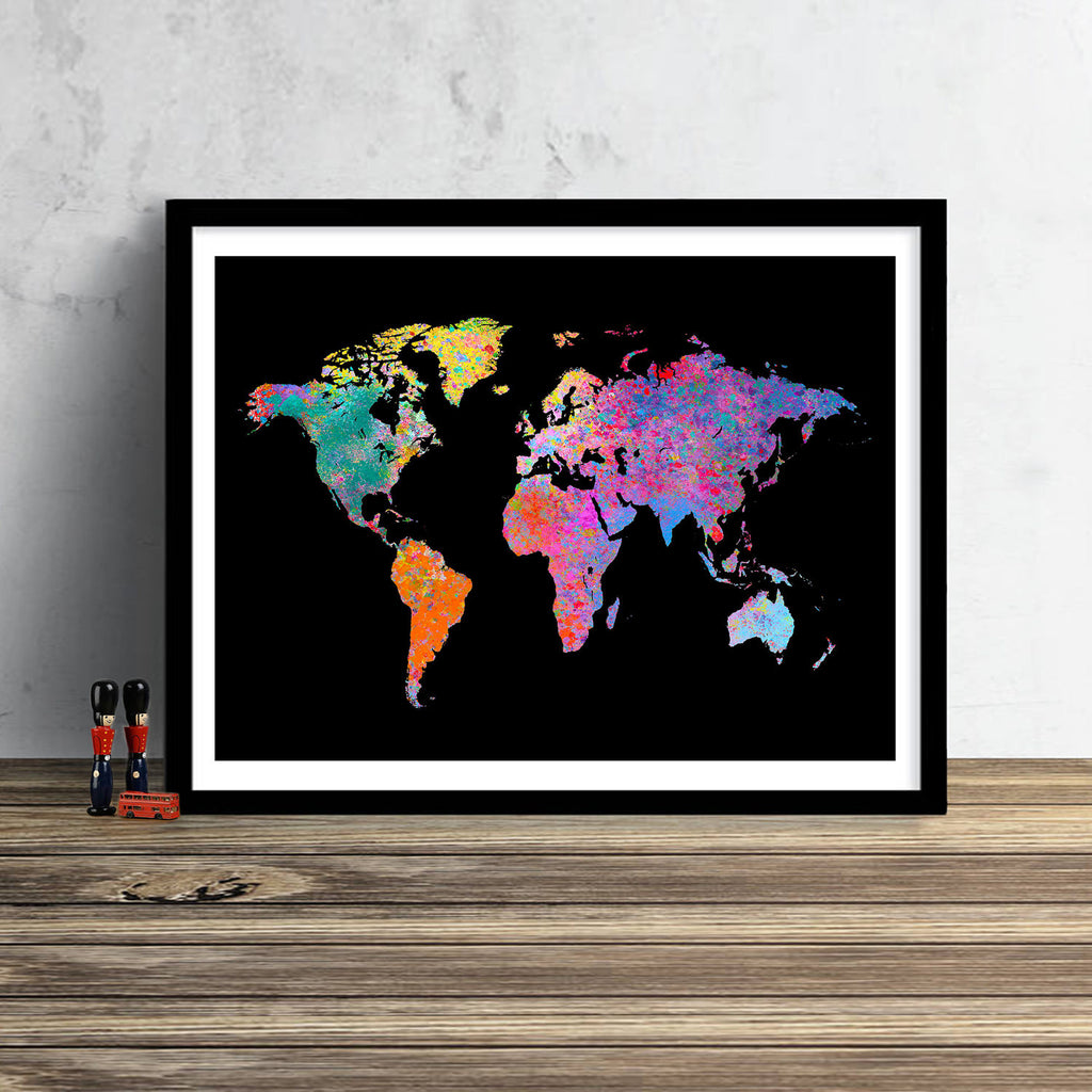 World Map: Watercolor Illustration Wall Art - Iridescent Black Theme