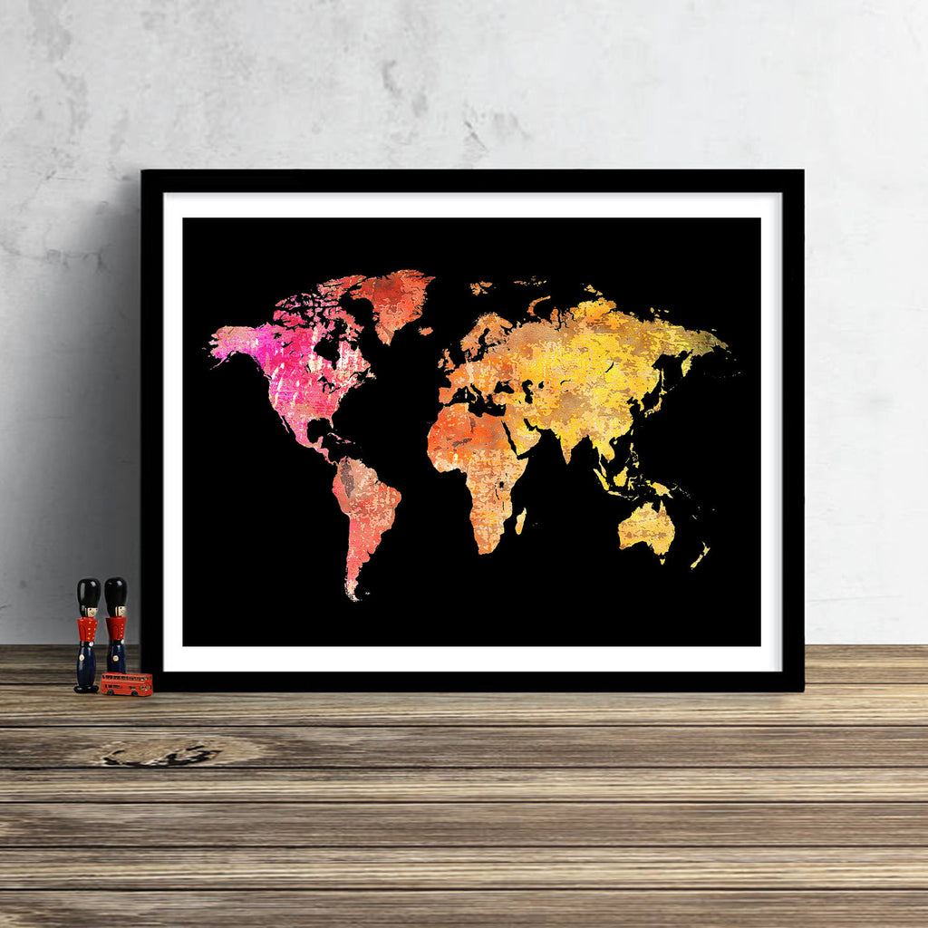 World Map: Watercolor Illustration Wall Art - Sunset Red Black Theme
