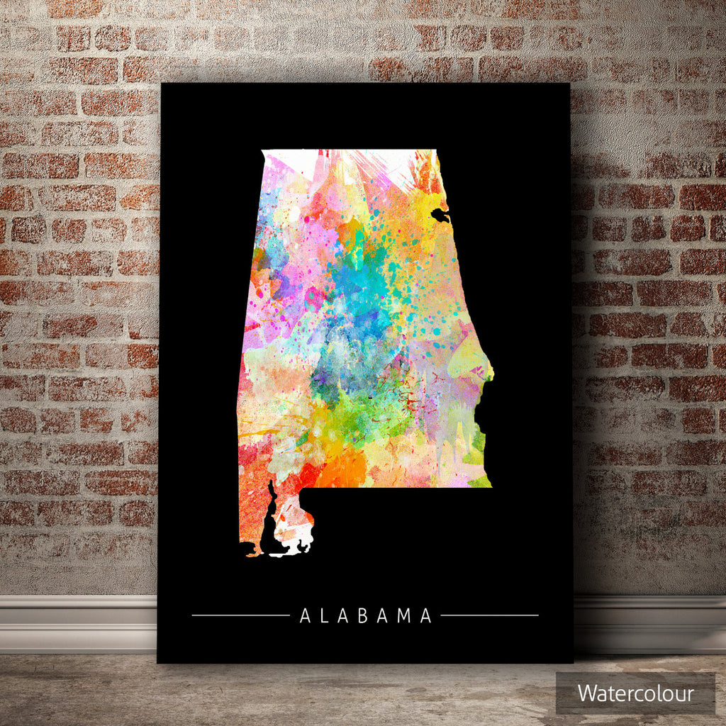 Alabama Map: State Map of Alabama - Sunset Series Art Print