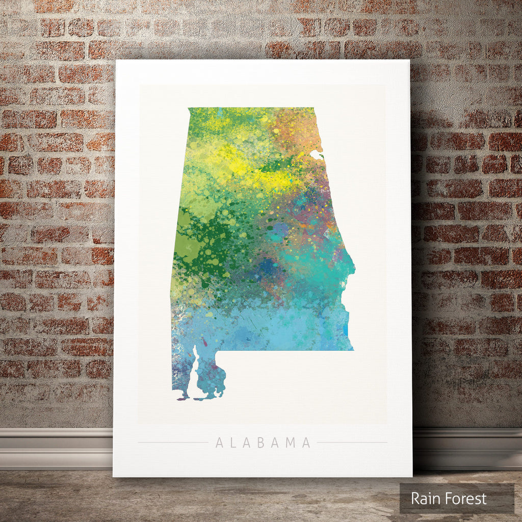 Alabama Map: State Map of Alabama - Nature Series Art Print