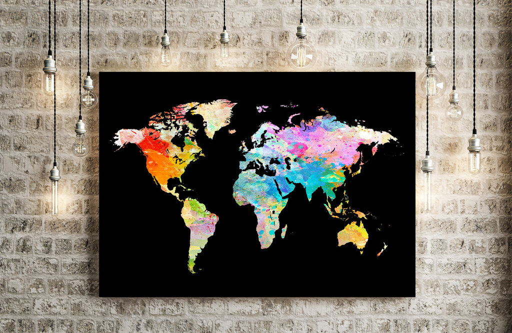 World Map: Watercolor Illustration Wall Art - Watercolour Black