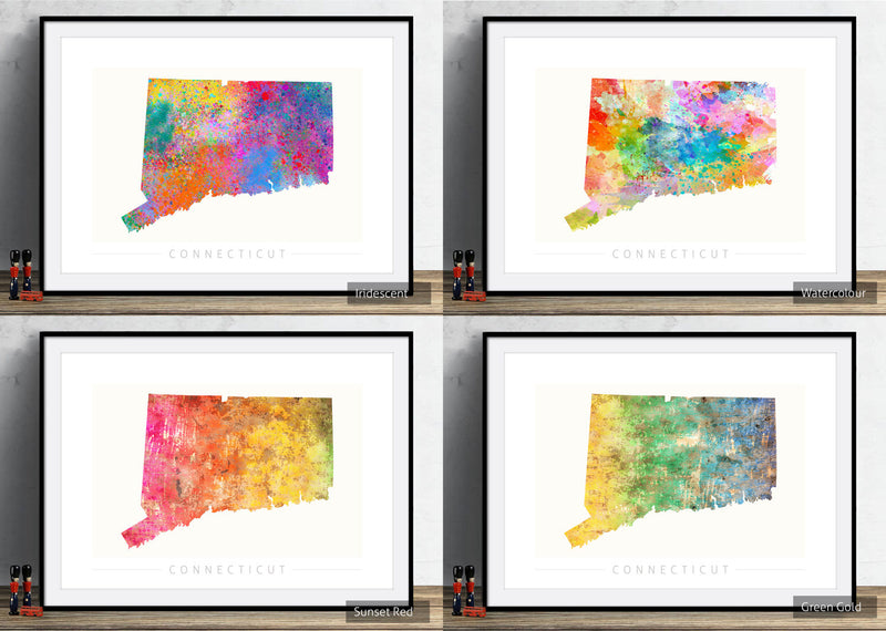 Connecticut Map: State Map of Connecticut - Sunset Series Art Print