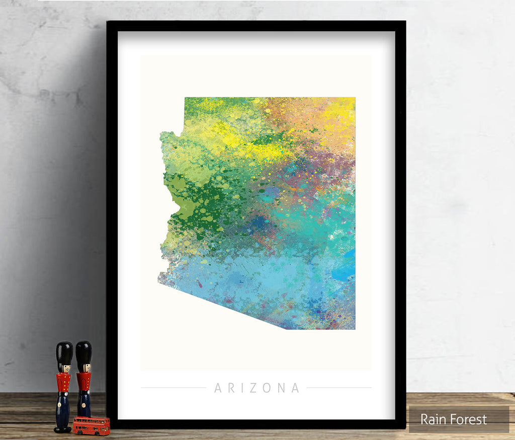 Arizona Map: State Map of Arizona - Nature Series Art Print