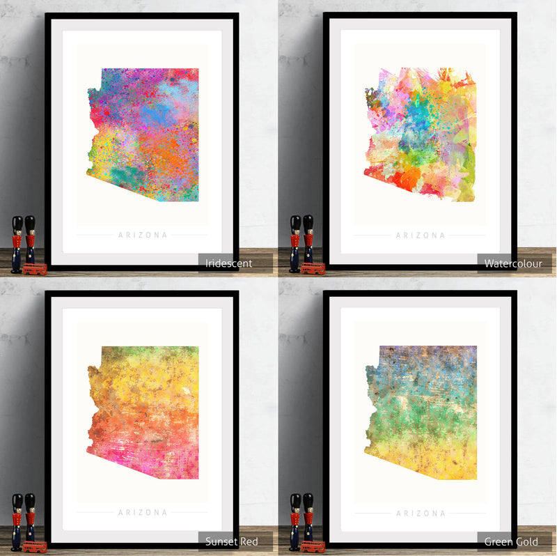 Arizona Map: State Map of Arizona - Sunset Series Art Print