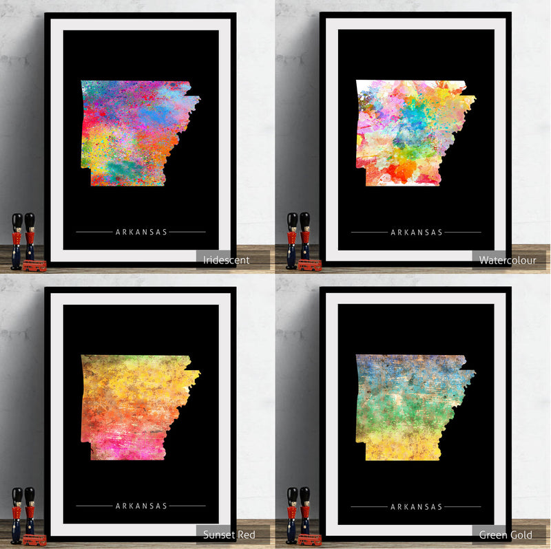 Arkansas Map: State Map of Arkansas - Sunset Series Art Print