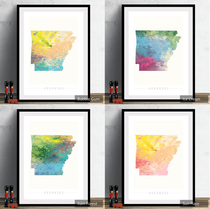 Arkansas Map: State Map of Arkansas - Nature Series Art Print