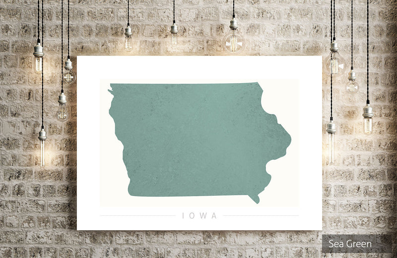 Iowa Map: State Map of Iowa - Colour Series Art Print