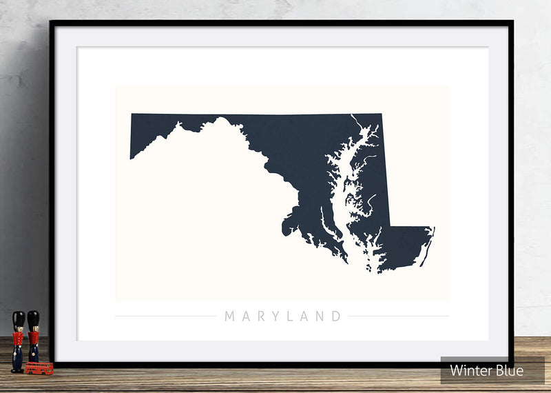 Maryland Map: State Map of Maryland - Colour Series Art Print