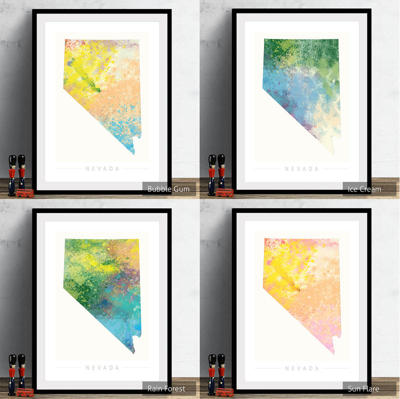 Nevada Map: State Map of Nevada - Nature Series Art Print