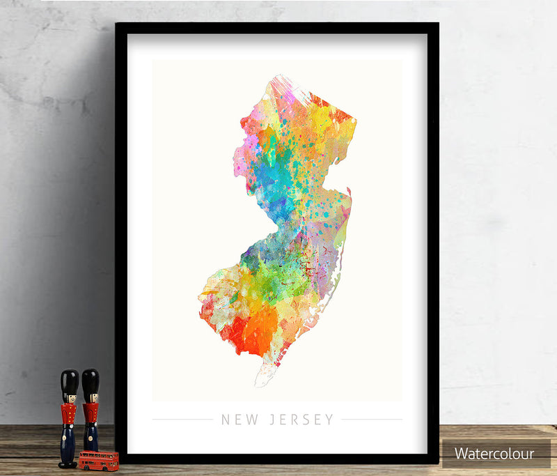 New Jersey Map: State Map of New Jersey - Sunset Series Art Print