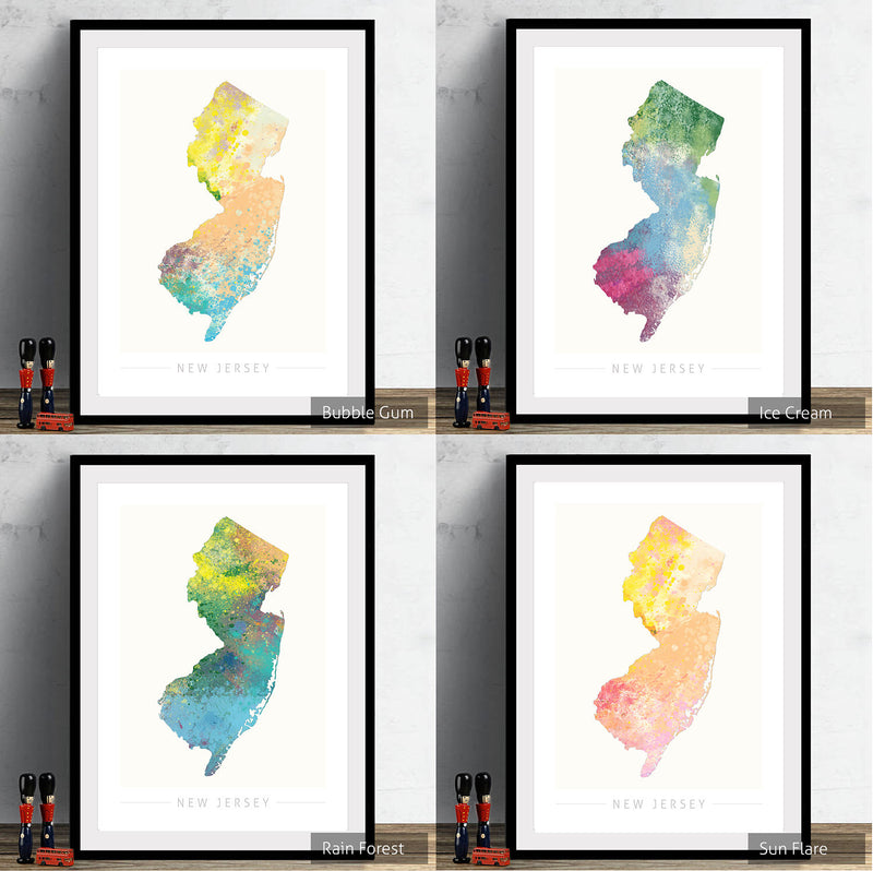New Jersey Map: State Map of New Jersey - Nature Series Art Print