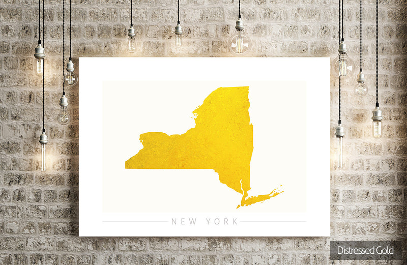 New York Map: State Map of New York - Colour Series Art Print