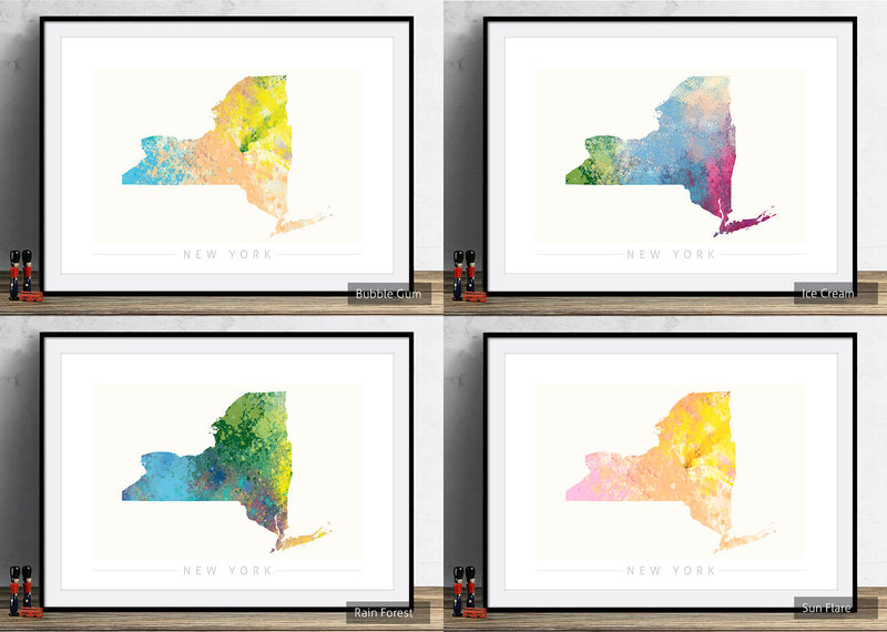 New York Map: State Map of New York - Nature Series Art Print