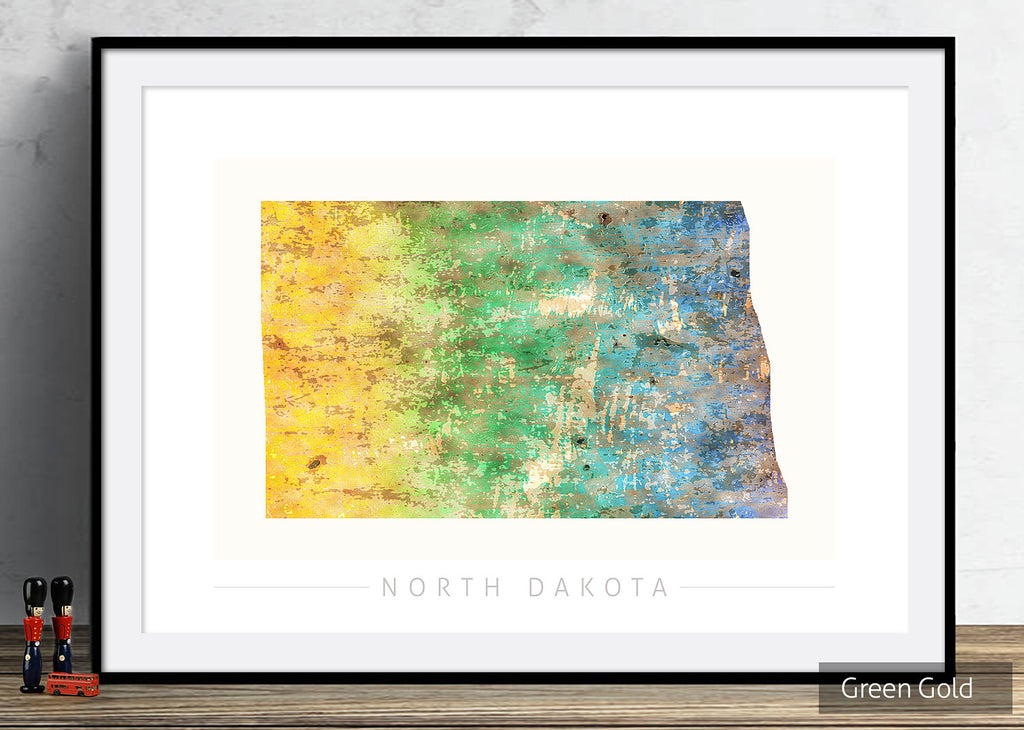North Dakota Map: State Map of North Dakota - Sunset Series Art Print