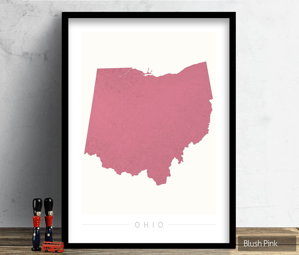 Ohio Map: State Map of Ohio - Colour Series Art Print