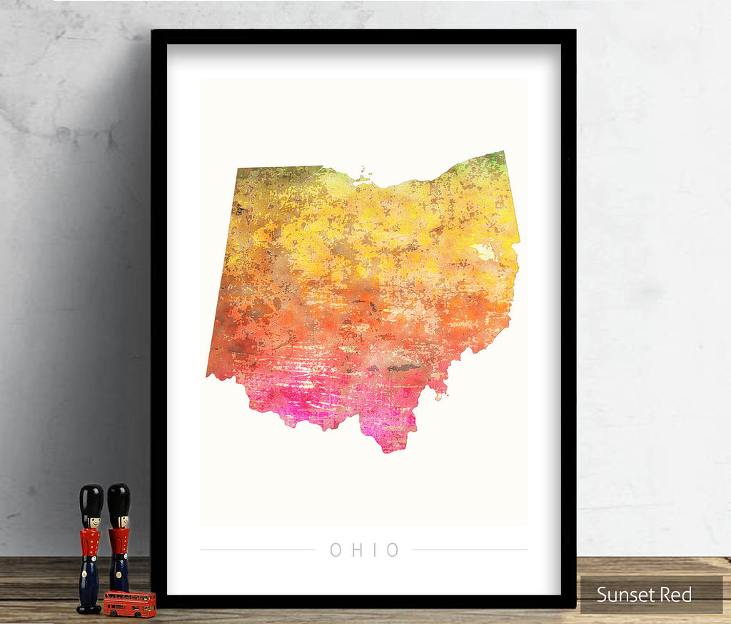 Ohio Map: State Map of Ohio - Sunset Series Art Print