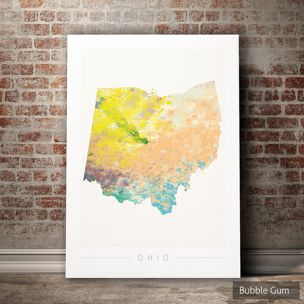 Ohio Map: State Map of Ohio - Nature Series Art Print