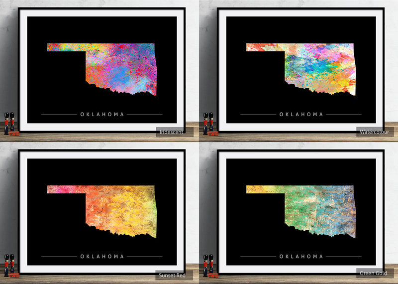 Oklahoma Map: State Map of Oklahoma - Sunset Series Art Print